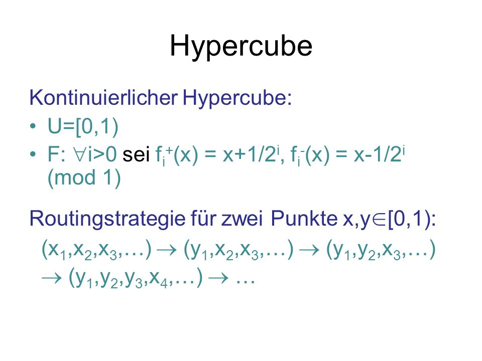 Hypercube Kontinuierlicher Hypercube: U=[0,1)